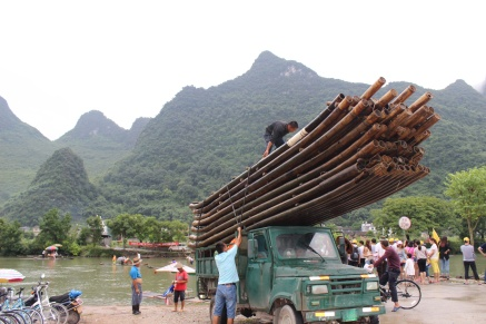 bamboo boat transportation